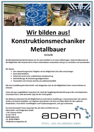 Ausbildungsplätze Konstruktionsmechaniker Metallbauer